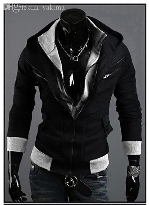 Wholesale-New fashion Assassin's Creed 3 Desmond Miles Hoodie Jacket Costume Cosplay Hoody Coat Black Dark Gay Light Gray
