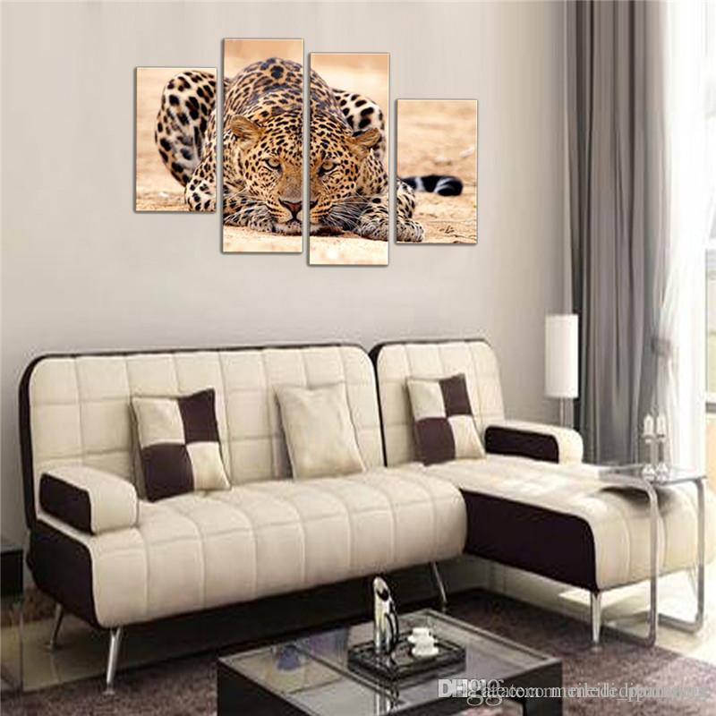 4 Picture Combination Canvas Painting Impression Animal Painting Beautiful Animal Canvas Print Art Home Decor of Forest King Tiger Paintings