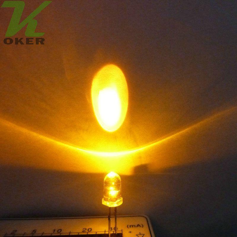 1000pcs 5mm 옐로우 라운드 워터 클리어 LED 라이트 램프는 다이오드 5mm 노란색 led 램프를 이끌었다