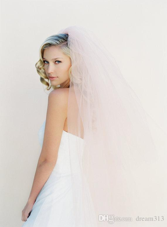 New Top Quality Best Sale Fingertip short White Ivory Cut Edge Veil A layer of white pink With Comb Bridal Head Pieces