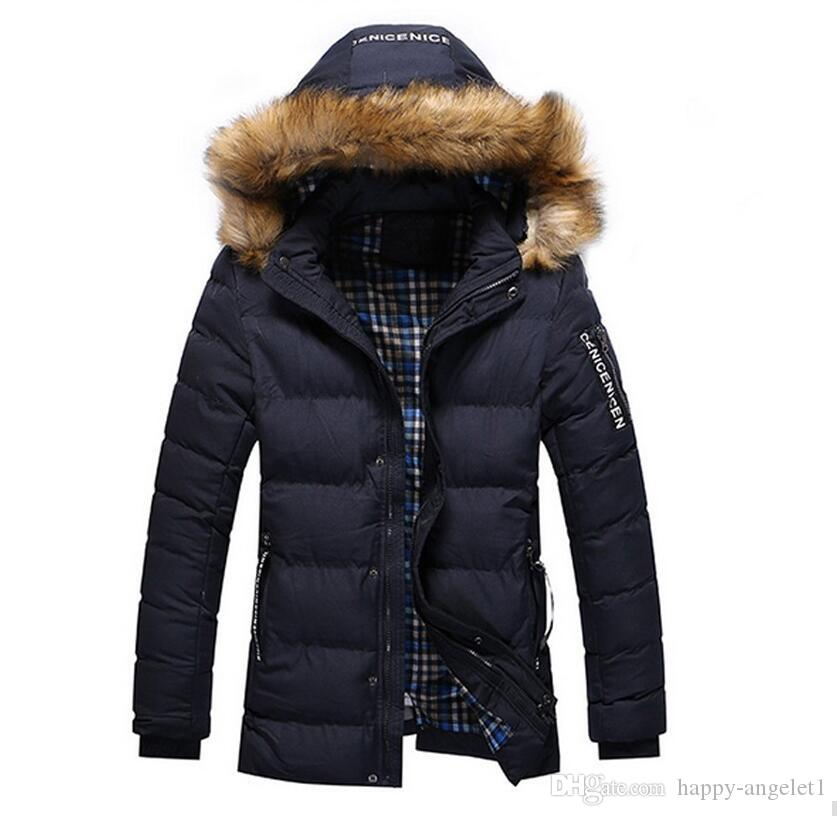 2016 neuen Ankunfts-Männer Solide Bequemen verursachende lange warmen Mantel-Männer Art und Weise Padded mit Kapuze Winter-Wear dicker Mantel