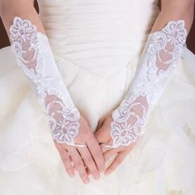 Cheap Fingerless Lace Beaded Below Elbow Length Wedding Bridal Glove Bridal Accessories bridesmaid Gloves Free shipping HT116