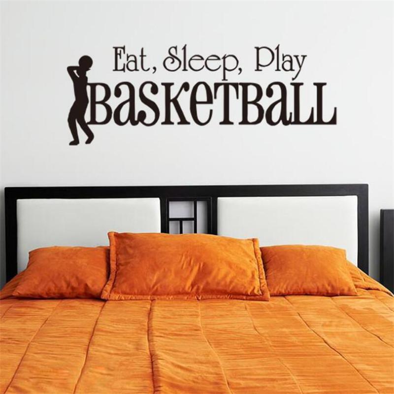 3D SLEEP PLAY Adesivo murale basket citazioni Art Home Decor decalcomanie Kids Boy Room Decor adesivi murali per camere ragazzi