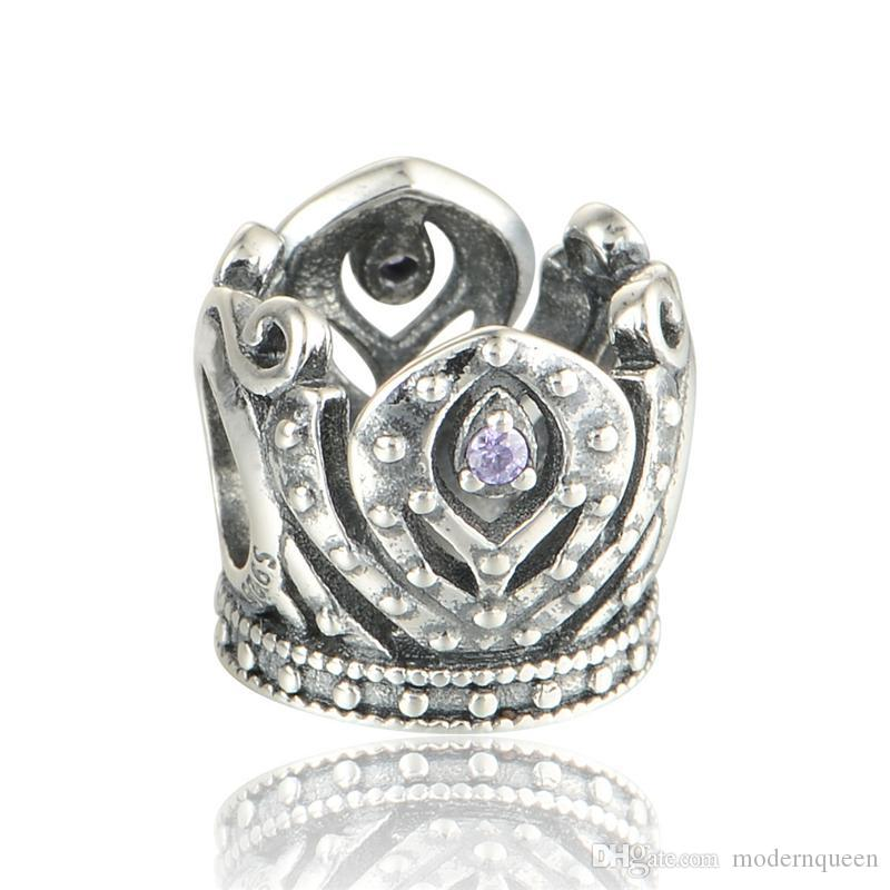 rhinestone crown charms jewelry S925 sterling silver fits for diy style bracelets H8