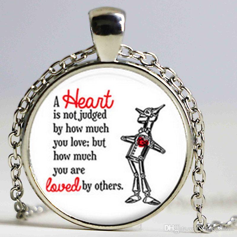 Um coração não é colar de juiz, citar jóias, mágico de Oz jóias, mágico de Oz colar, mágico de Oz citação colar gargantilha