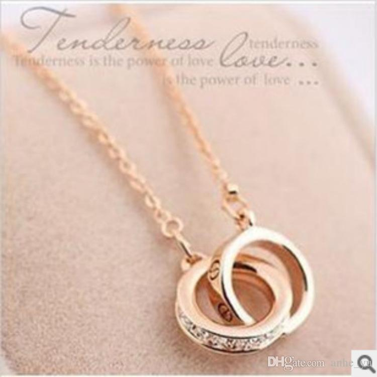 yellow quot com gold necklace interlocking polished rings dp amazon