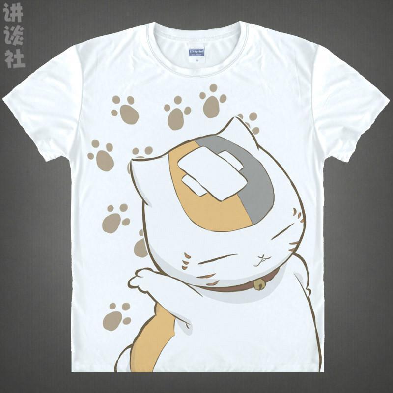 Anime Shirt Natsume's Book of Friends T-Shirts Multi-style Short Sleeve Takashi Natsume Madara Nyanko-sensei Cosplay Motivs Hentai Shirts