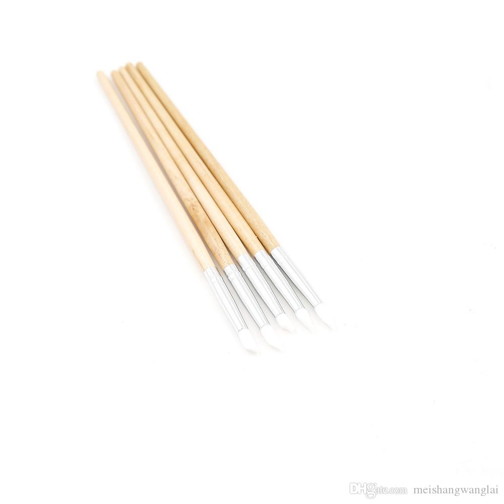 Nagelbürste Silikon Pinsel Modellierung 5 sätze / los 5 pics / set Nail art Pen Pinsel Nagel Pinsel Feine Holz