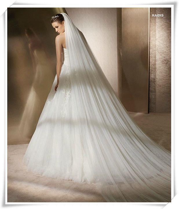 Elegante velo da sposa con tagliato a bordo cattedrale lunghezza due strati tulle bianco / avorio hotselling wedding veli # v00013