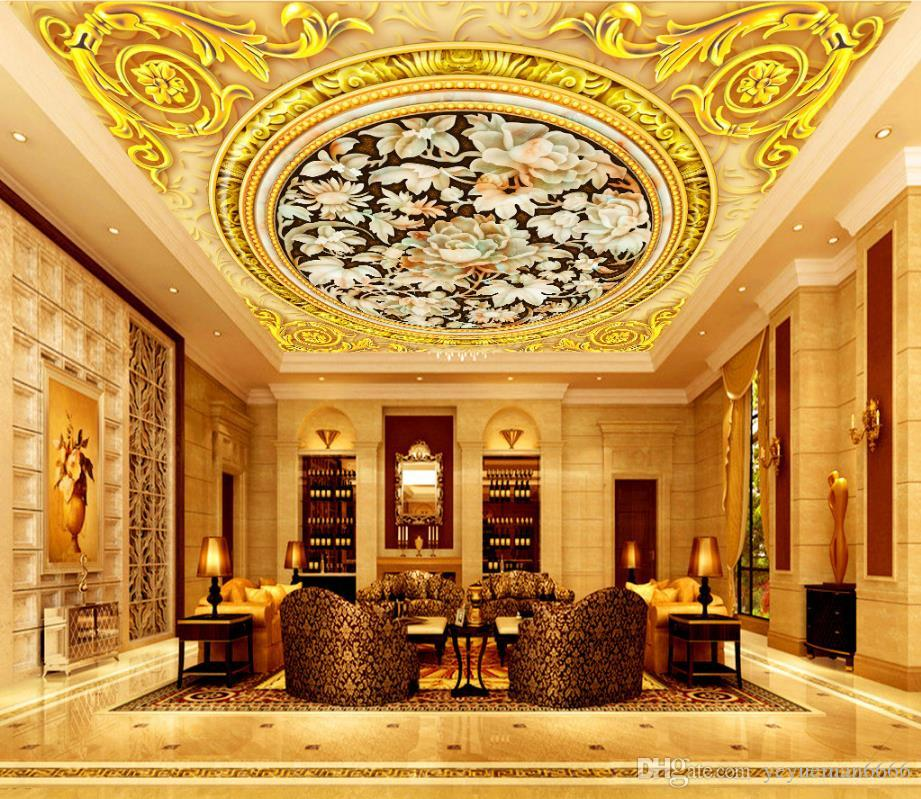 papier peint en soie simple fond 3d plafond personnalisé papier peint jade fleur rouleaux pour mur plafond 3d walpaper pour chambre