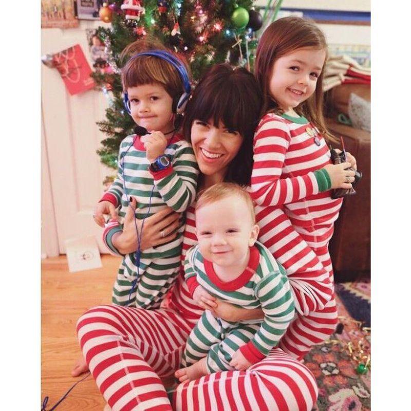 Bambini maniche lunghe strisce natale pigiama set maglietta a righe + pantaloni a righe 2 colori bambini in cotone per bambini sleepwear homewear natale abbigliamento