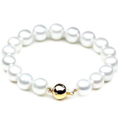 Elegante 10-11 naturais mares do sul pérola branca pulseira 7.5-8inch 14k ouro