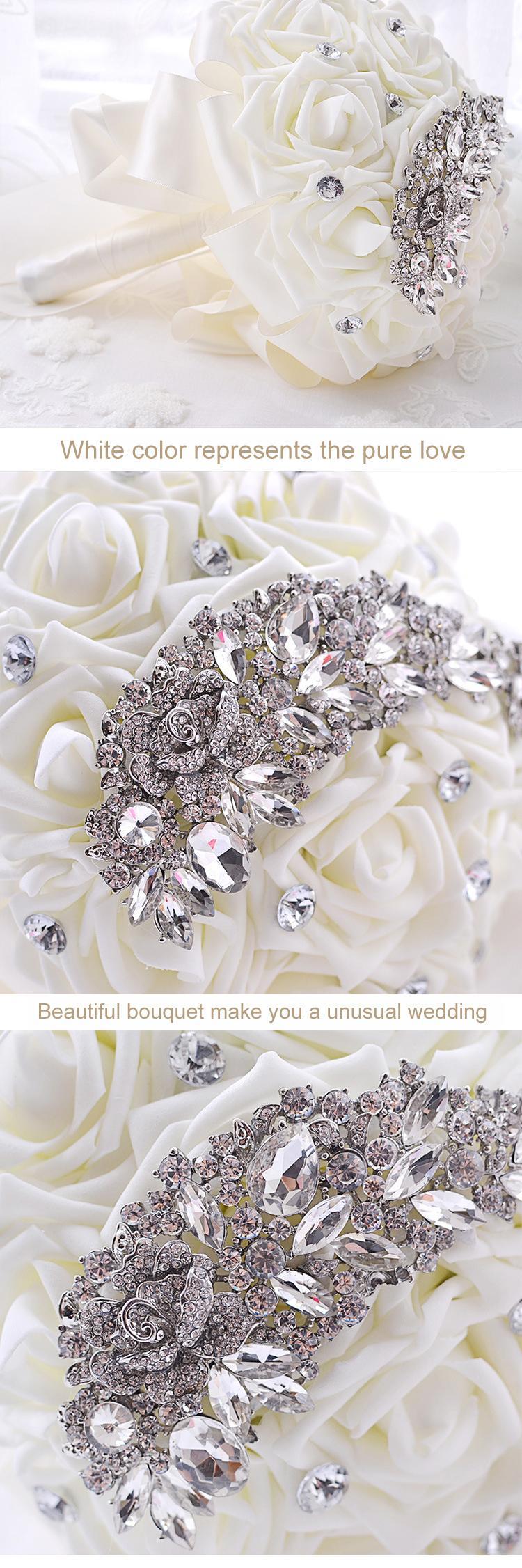 Hot Sale Elegant Crystal Bridal Wedding Bouquet White Bridesmaid