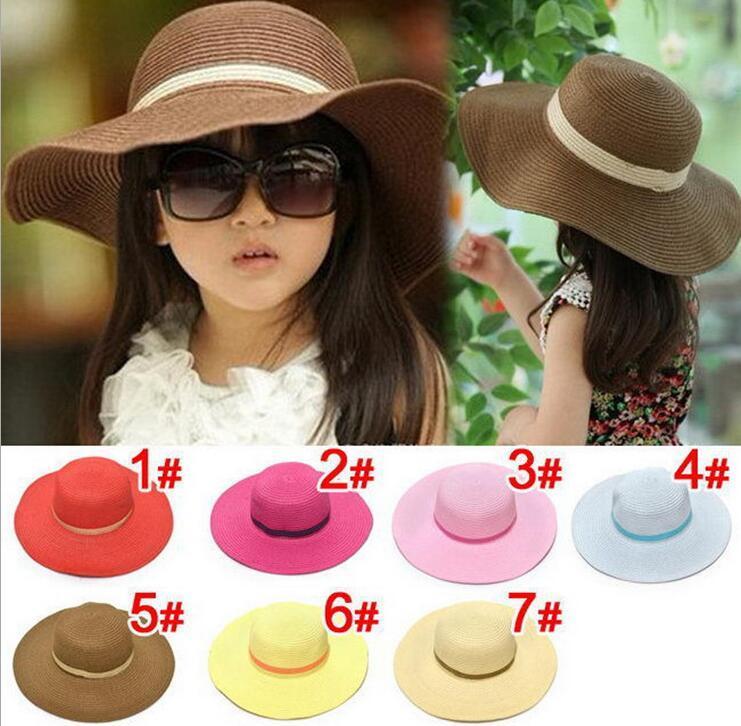 Children girl hats beach hat baby girls sun hat caps7 colors