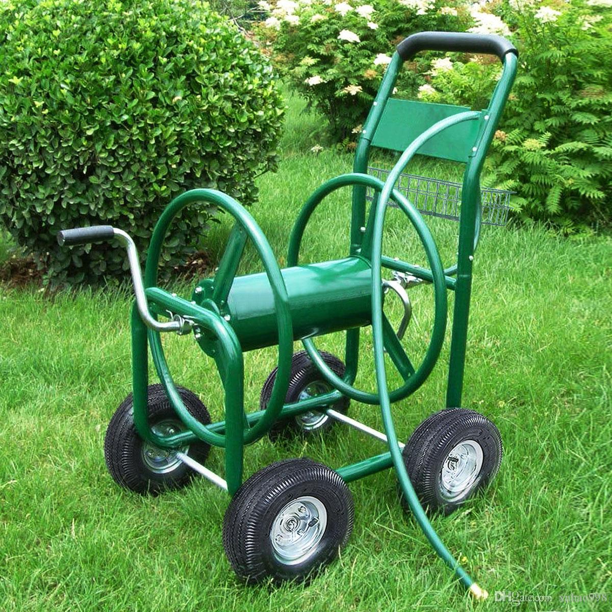 Bahçe Su Hortum Arabası 300ft Açık Ağır Hizmet Yard Dikim W / Basket Yeni
