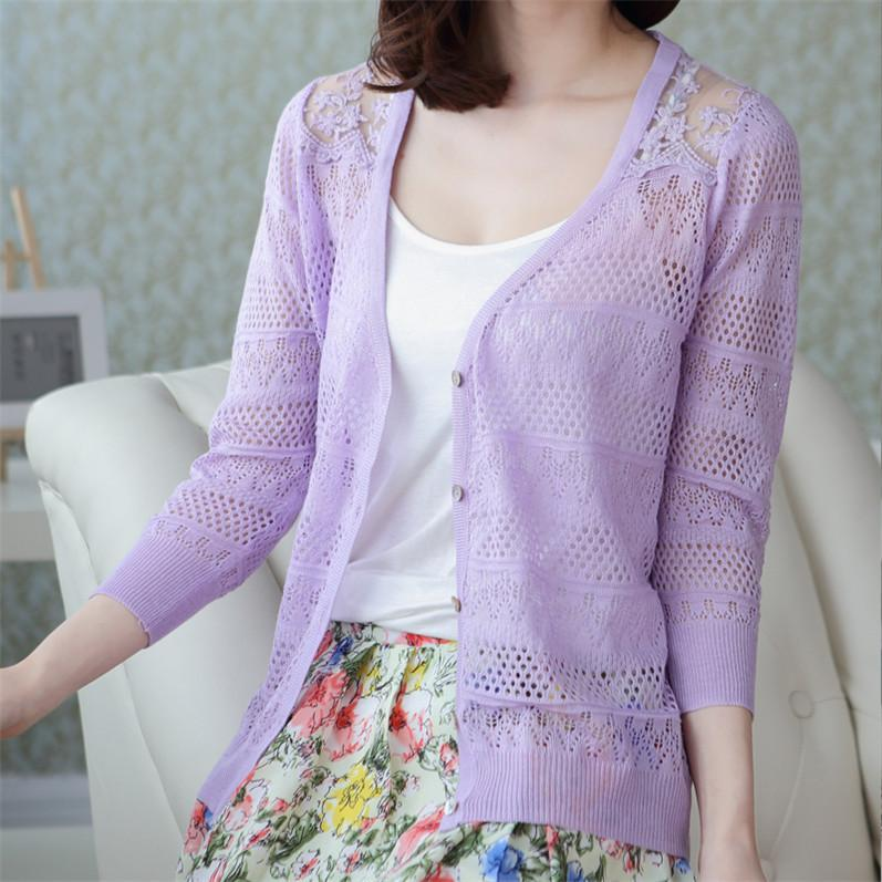 Lace Thin Autumn And Winter Women's Knitting Cardigan Sunscreen New Pattern Air Conditioner Unlined Upper Garment Suit-dress