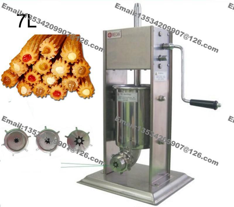 Envío Gratis Uso Comercial Manual de Acero Inoxidable 7L Spainur Churro Churros Machine Maker Baker con 3pcs Boquillas