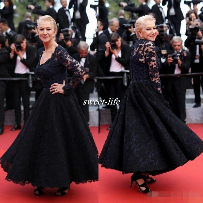 2020 Cannes Abiti per la madre della sposa Manica lunga Scollo a V Lunghezza alla caviglia Pizzo a buon mercato Celebrità Abito da cerimonia Abiti da sposa per madre