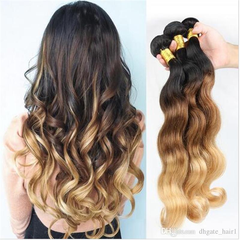 1B / 4/27 cheveux blonds malaisiens en cheveux blonds tissent une vague de corps onduleux en malaisien 3 faisceaux trois tons de couleur Ombre trames de cheveux humains Extensions