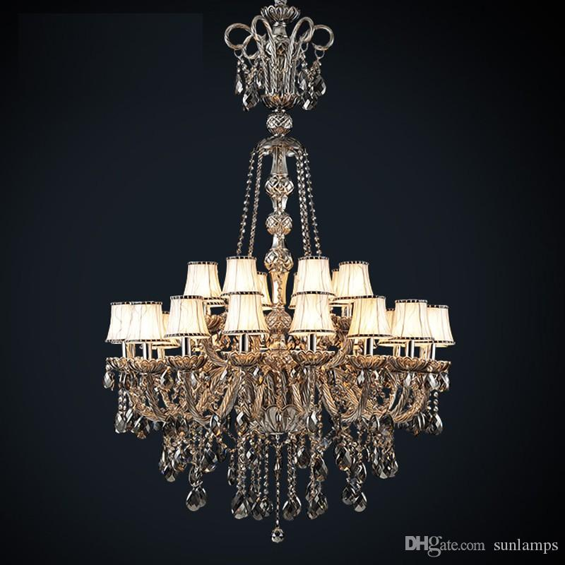 Led Antique Hotel church chandelier crystal lighting vintage black smoke crystal chandelier with lampshade large foyer pendant light lustres