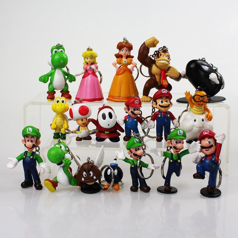 18pcs/set 3~5cm Super Mario Bros Keychain Mario Luigi Mushroom Toad Princess Peach Keychains Figure Toys Great Gifts