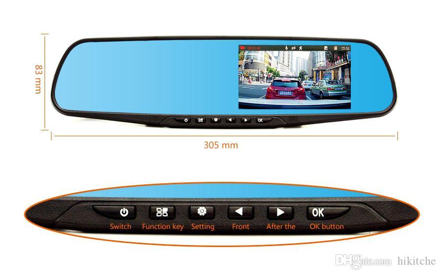 hkt30 enregistreur vidéo enregistreur vidéo Full HD1080p voiture DVR vue arrière rétroviseur caméra vision nocturne Dash Cam A +