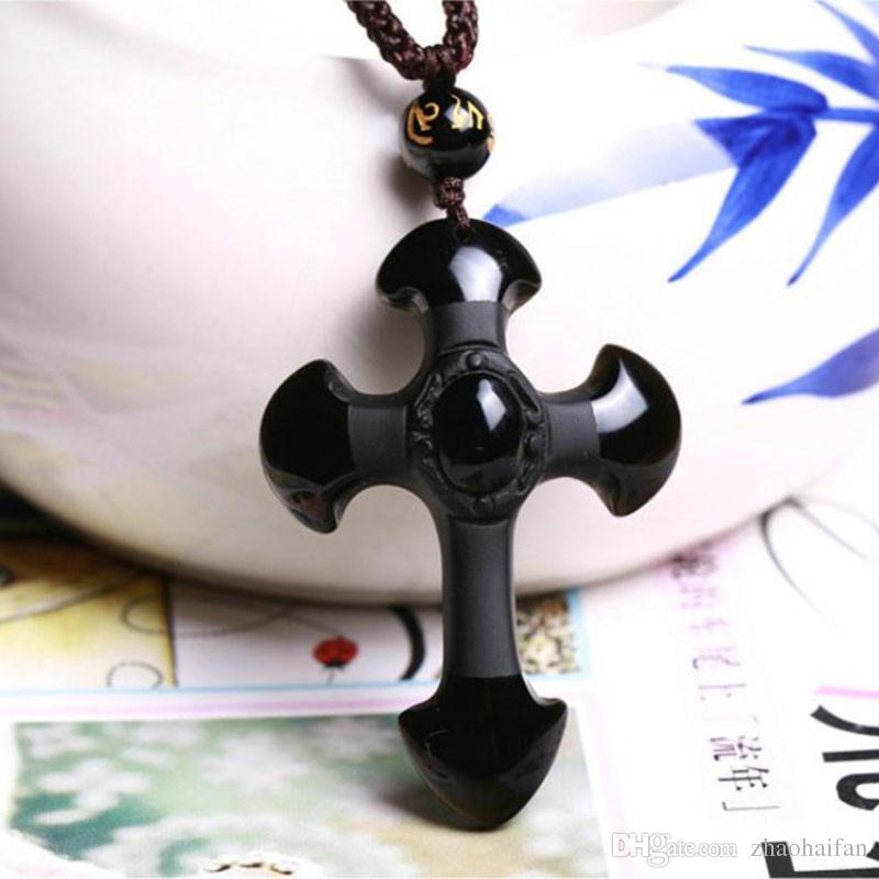 Drop Shipping Naturel Noir Obsidienne Sculpture Croix Amulette Chanceux Pendentif Collier Pour Femmes Hommes Collier Bijoux 52 * 36mm