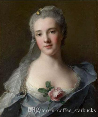 Framed Jean-Marc NATTIER Manon Balletti portrait with rose flowers,Free Shipping Handpainted Portrait Art Oil painting On Canvas Multi sizes