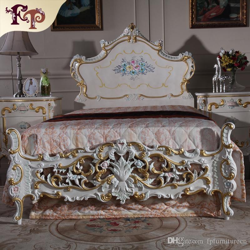Muebles de estilo antiguo barroco cama de estilo rococó: lujosos muebles de villa clásicos de lujo
