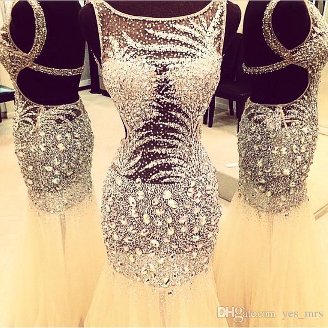 2020 Barato Bling Sexy Jewel Neck Vestidos de Noite desgaste Rhinestone Cristal Principal Principal Sereia Sheer Vestido Formal Open Back Partido Partido Vestidos De Prom
