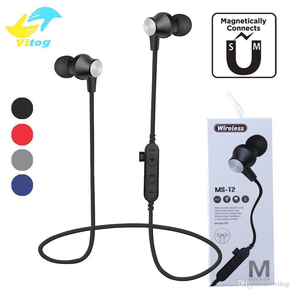 Ms T2 Magnetic Bluetooth Headphones Wireless Earphones Running Headset With Mic Mp3 Earbud Stereo Bt 4 2 For Iphone 8 Samsung S10 Note10 Headset Cell Phone Best Cell Phone Earbuds From Vitog 4 83 Dhgate Com