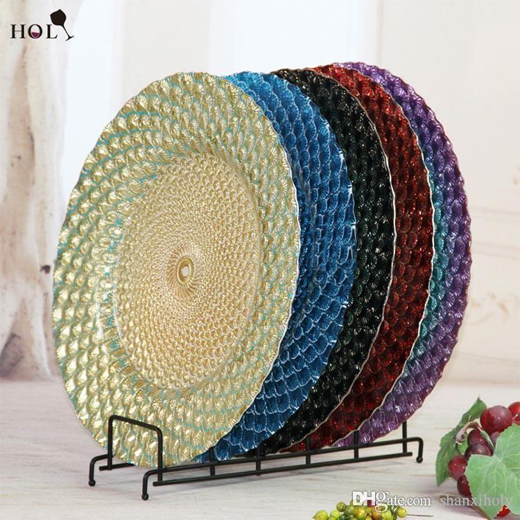 Günstige Home Decor Geschirr Hochzeit Green Feather Design Glas Ladegerät Platten Großhandel