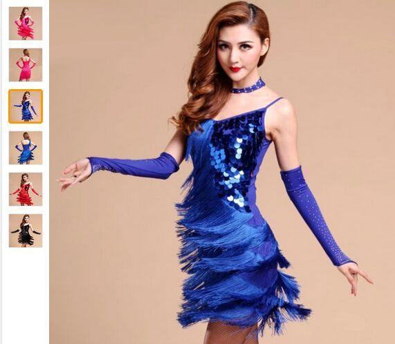 Primavera Latina Vestido de Dança Mulheres Lantejoulas Borla Roupas Para Dança Preto / Vermelho / Rosa / Sapphire Blue Roupa De Ginastica Dancewear Frete Grátis