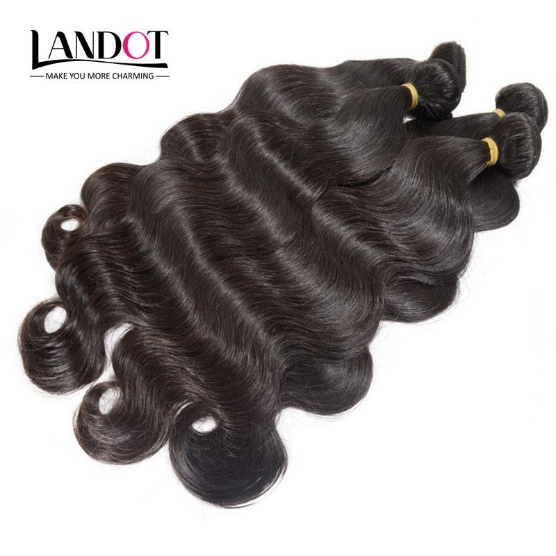 Best 10A Brazilian Body Wave Virgin Hair 3/4 Bundles Unprocessed Peruvian Indian Malaysian Human Hair Weave Natural Color Can Bleach Can Dye
