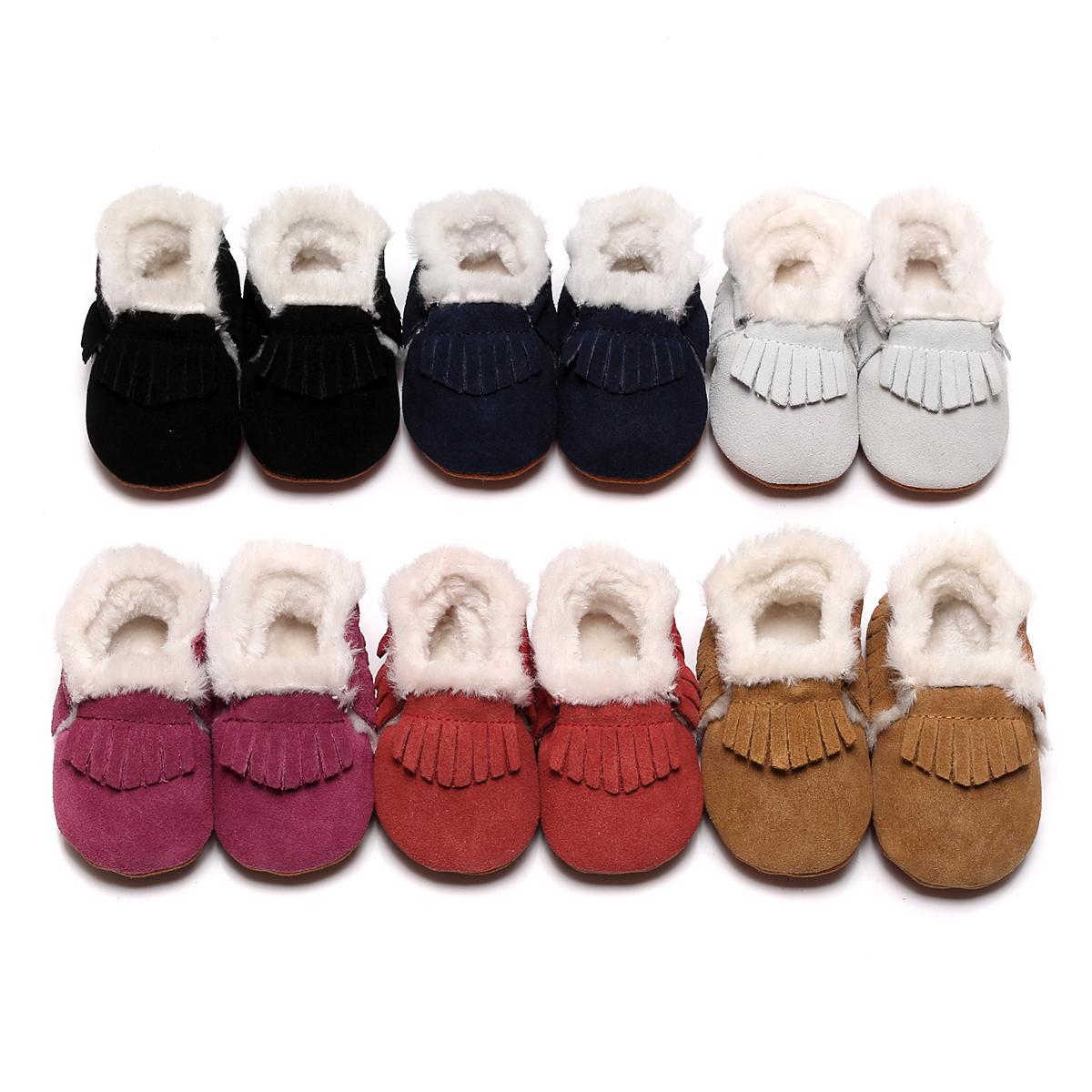 2018 Ile yeni Bebek Moccasins Çizmeler Kürk Polar Astarlı sert Kauçuk Tabanlar alt Sıcak Kar Botları Kış Bebek Ayakkabı Boys Ve Kızlar Için
