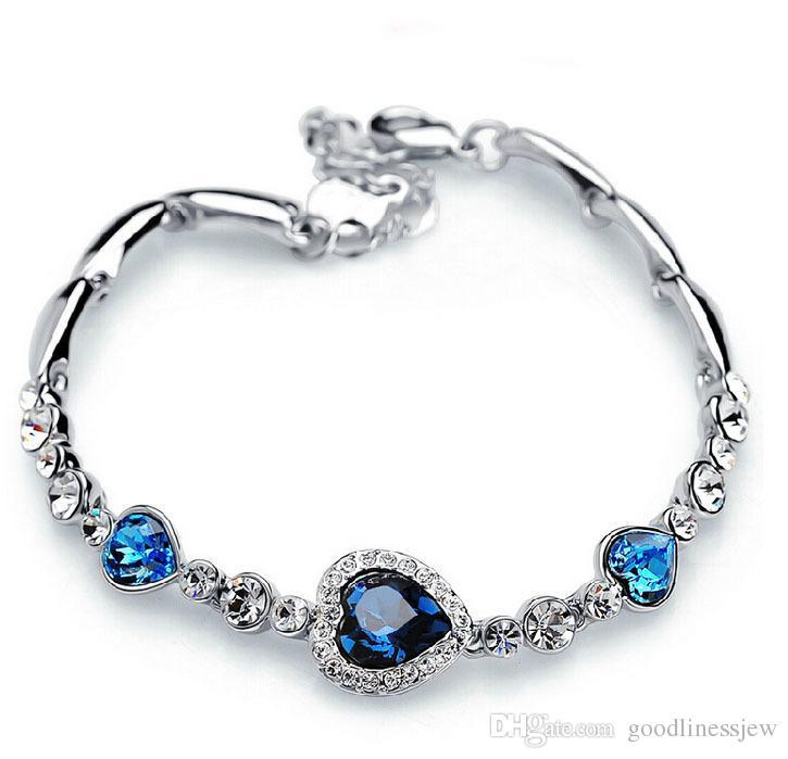 Pulseras para las mujeres de moda océano azul astilla plateado cristal Rhinestone del encanto del corazón pulsera brazalete de regalo Swarovski joyas pulseras del encanto