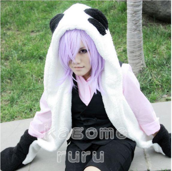 Ücretsiz kargo! Yeni Un-Go Inga Brack Cosplay Kostüm - (Eldiven + Peluş Kuyruk ile Panda Peluş Şapka)