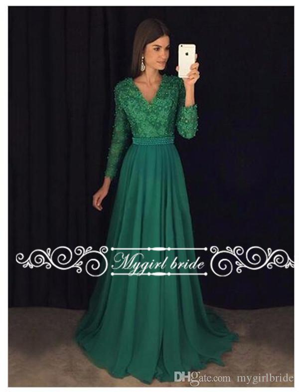 2017 Emerald Green Evening Gowns With Long Sleeves V Neck A Line ...