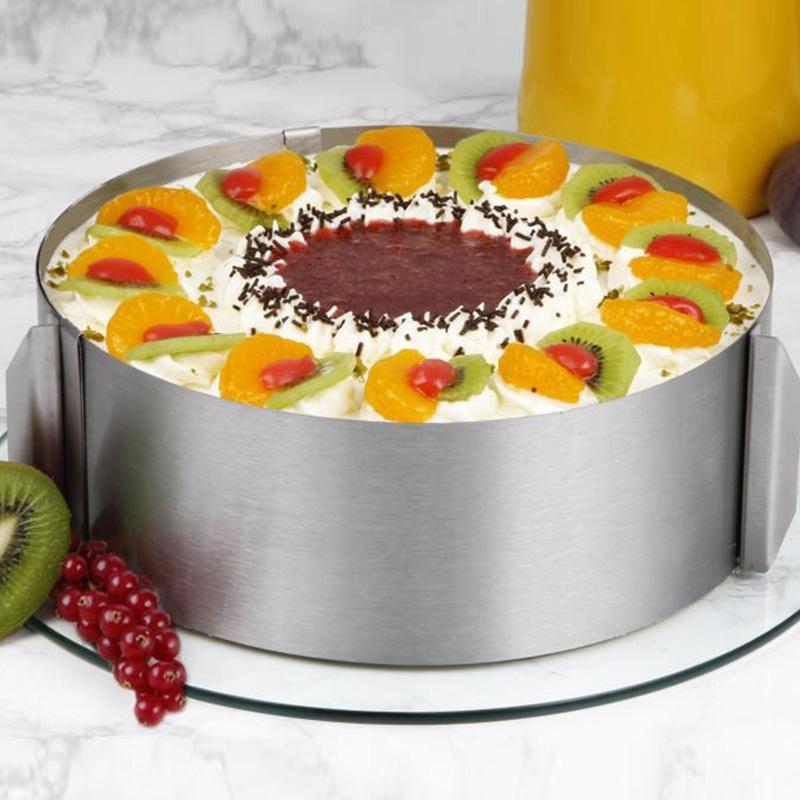 Haute Qualité Rétractable En Acier Inoxydable Cercle Mousse Anneau Baking Tool Set Gâteau Moule Moule Taille Réglable Bakeware Vente Chaude