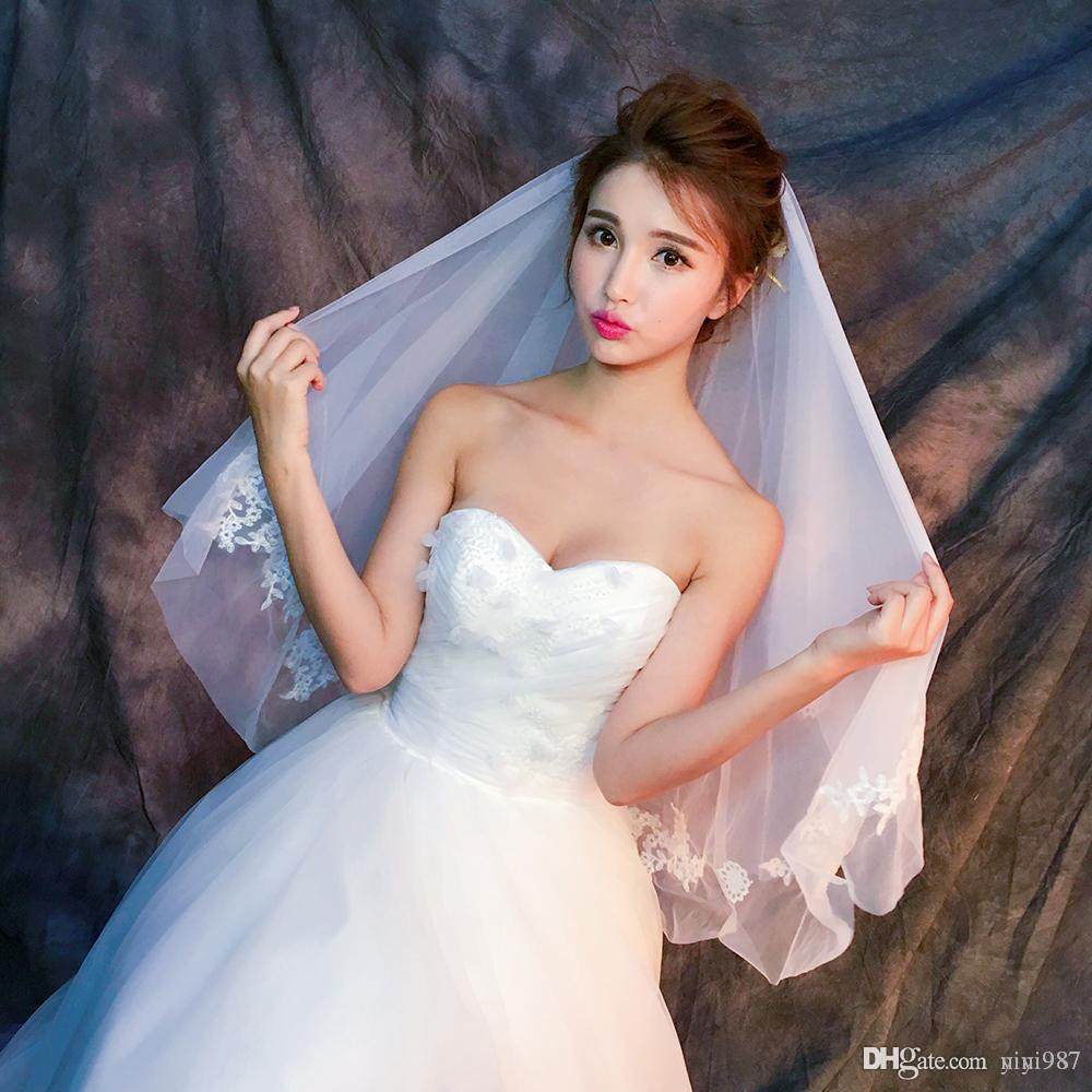 Y-O19 Wholesale Veils High Quality Real photos Purple White Netting Veils of Bridal Tulle with Lace Fast Free shipping out Veils