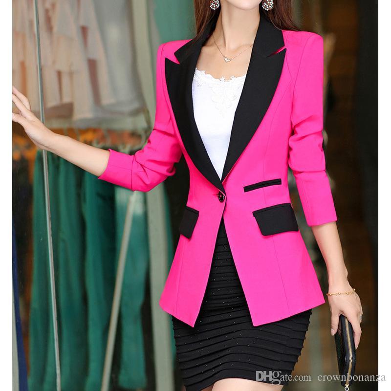 Chaqueta de mujer Blazer Ladies Traje pequeño Un botón Slim Wear Wear Blazers Feminino Coat Más talla M-XXL