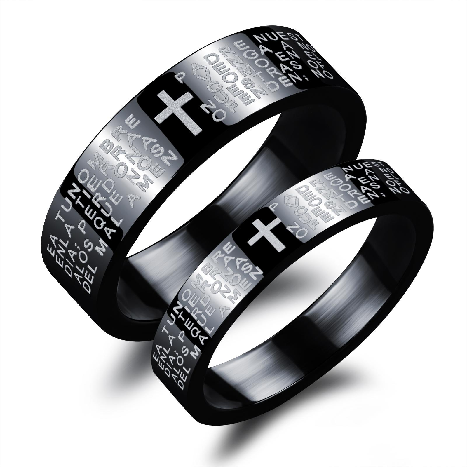 It is just an image of 33 His And Her Matching Titanium Steel Lovers Promise Ring Black