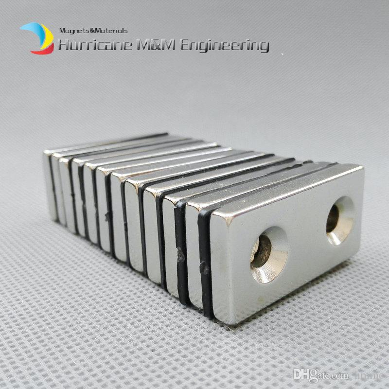 100pcs NdFeB Fix Magnet 40x20x5mm with 2 M5 Screw Countersunk Holes Block N42 Neodymium Rare Earth Permanent Magnet