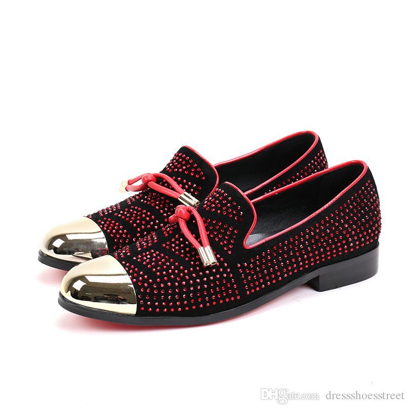 Nuovi mocassini da uomo fatti a mano in cristallo rosso Pantofole fumatori da uomo Scarpe da cerimonia da uomo formali da sposa