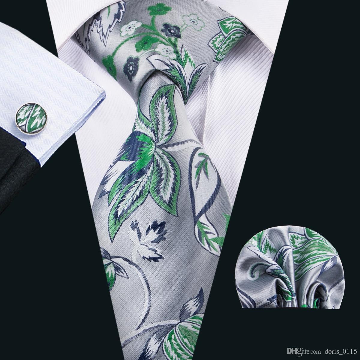 China Laços de seda Homens Silva e Green Beautiful Gravatas Handkerchief Cufflinks ajustados para a ocasião ocasional formal N-1604