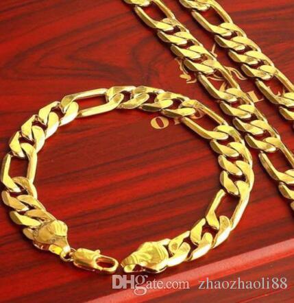 """10MM 18K Gold füllte der Männer Armband + Halskette 23.6"""" Kettensatz Weihnachtsgeschenk"""