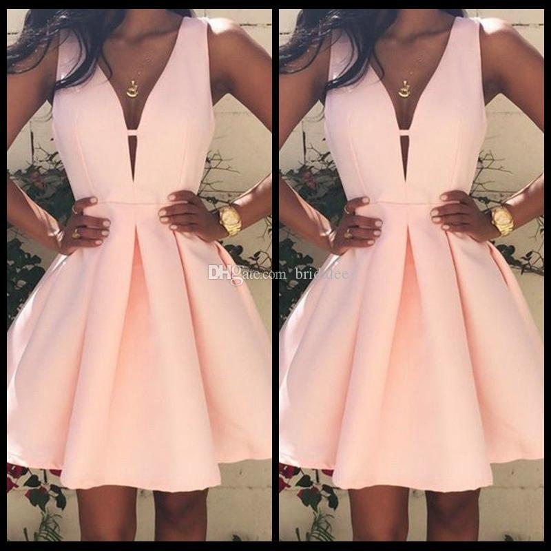 핑크 일반 플리츠 지퍼 V 넥 민소매 섹시한 귀가 귀여운 미니 드레스 단순 저렴한 드레스 저녁 착용