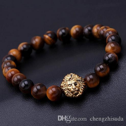 Braccialetto di fascino con perline calde bracciali buddha paracord pietra naturale braccialetto leone uomini pulseras hombre bracciali uomo bracciali uomo