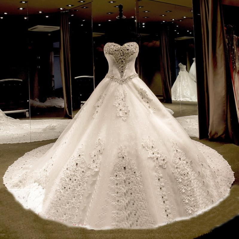 Discount 2016 Wedding Dresses Han Edition Bride Diamond High End