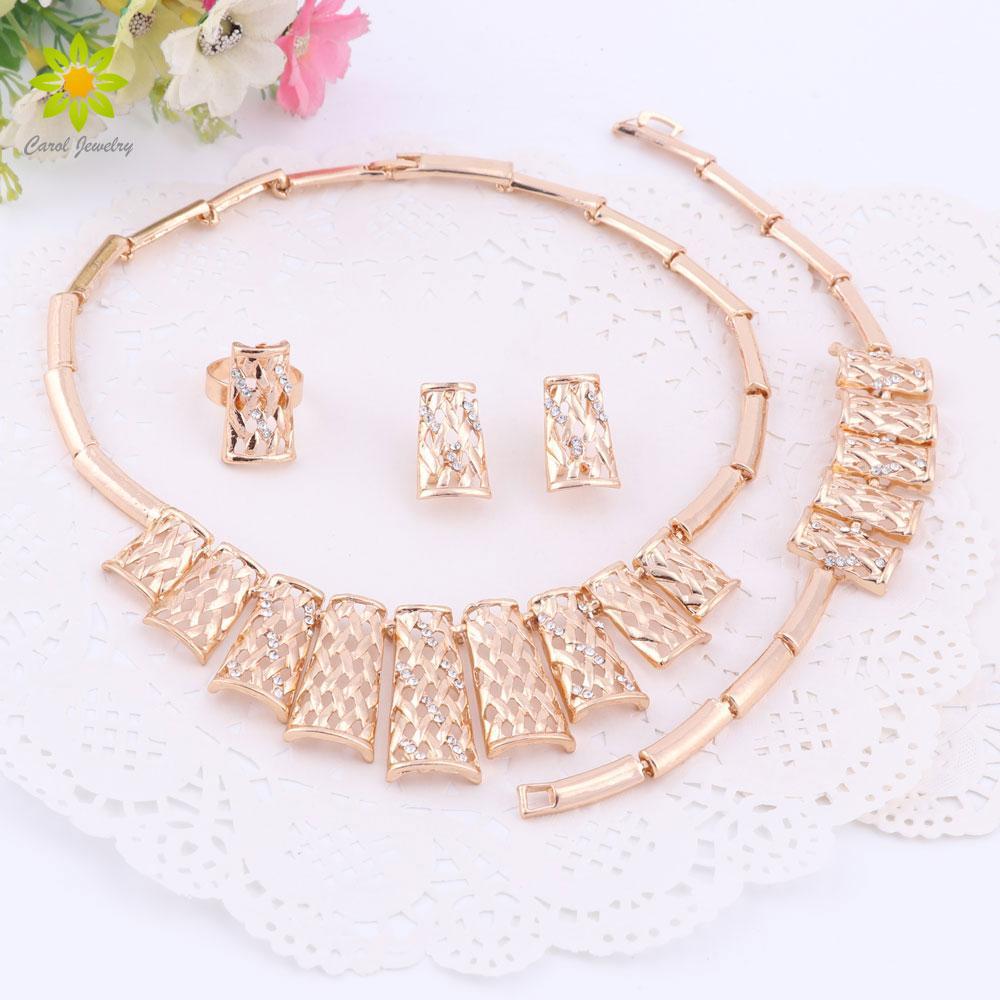 Dubai Gold Überzog Frauen Schmuck Sets Halskette Ohrringe Ring Armband Sets Für Frauen Party Hochzeit
